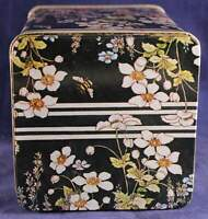 1982 Old Stock Delma Design Flower and Butterfly Black Tin