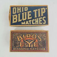 Lot Of (2) Vintage Advertising Match Boxes Blue Tip & Birds Eye - Empty