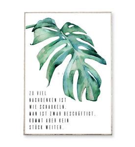 NACHDENKEN & SCHAUKELN / Kunstdruck Poster Bild Monstera tropisch Typografie