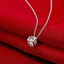 """Magic Cube 925 Silver Crystal Necklace Made with Swarovski Crystals 18"""""""