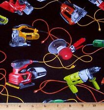 Power Tools Man Cave Fabric Fat Quarter Cotton Saw Drill I Spy Novelty