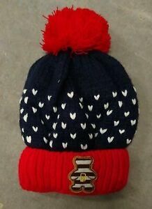 Hat Knitted Lined with soft white fleece Red Pompom Blue with white hearts