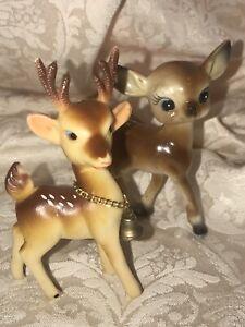 Vintage Soft Rubber Reindeer & Hard Plastic Deer Old Japan Christmas Decor