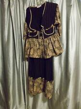Vintage 80's Designer Alexa Rae 2 piece skirt set black w/tan size S/M