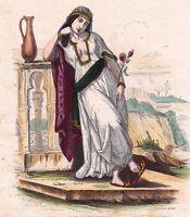 Gravure XIXe Femme Marocaine Maroc Morocco Woman 1850