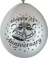 10 x Happy 25th Anniversary Balloons Silver Wedding Party Decorations FREE P&P