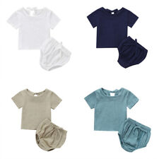 Babys Child 2pcs Top+Short Outfit Toddler Casual Clothing Girl Boy O-Neck Cotton