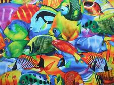 Tropical Fish Multi Color Sea Ocean Timeless Treasures Fabric Yard