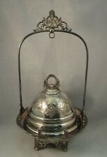 Antique Meriden quadruple plate silver plate butter dish and stand aesthetic