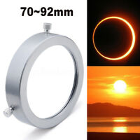 Silver 70~92 mm Solar Filter Baader Film Metal Cover For Astronomical Telescope