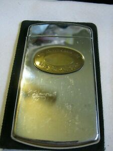 Vintage 1990 The Dalvey Card Case, Stainless & Brass, Made in Scotland, Holds 15