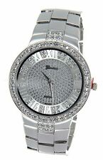 Geneva  Men Hip Hop Silver Tone Iced Out Lab Diamond Rapper Watch New
