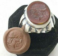 Intaglio natural  Jasper Ancient Silver Ring-Vintage-Antique ROMAN-RARE