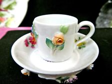 MEISSEN tea cup and saucer demi applied rose floral teacup miniature German