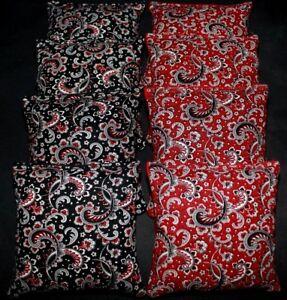 WEDDING BLACK AND RED PAISLEY BEANBAGS 8 ACA Regulation Cornhole Bean Bags