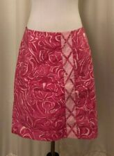 Lilly Pulitzer Pink Skirt Size 12 White Floral A Line Cotton Blend Stretch Lined