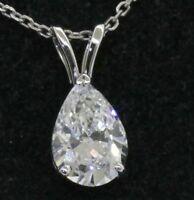 GIA certified Platinum 1.50CT VS2/E Pear diamond solitaire pendant necklace