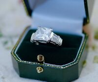 Vintage Jewellery Ring With White Sapphires Antique Deco Jewelry Size P 8