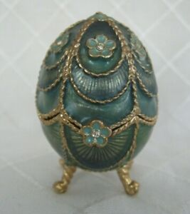 Monet TEAL Green Blue Gold Enamel Jeweled Egg Trinket Box SIGNED New