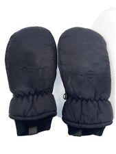 Vtg Saranac Ladies Mittens Ski Black Nylon Leather Thinsulate Womens Large