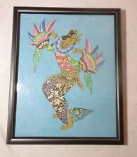 vintage original figural lady dancing gold gilded Indonesian acrylic painting