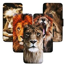 Lion Animal Faces Flip Phone Case Cover Wallet - Fits Iphone 5 6 7 8 X 11