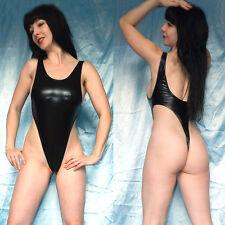 hohe Beine LACKBODY shiny metallic glänzend* S schwarz Stringbody Gymnastikanzug
