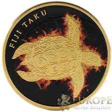 2012 1 Oz Ounce Silver Fiji Taku Turtle Colorized Fire Gold Gold Gilded 999 Fine