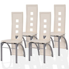 Set of 4 Dining Chairs PU Leather Steel Frame High Back Home Furniture Modern