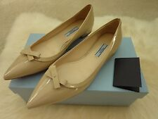 $650 PRADA 'Vernice' Pointed-Toe Ladies Flats Shoes 9B 39 Patent Leather | NEW!