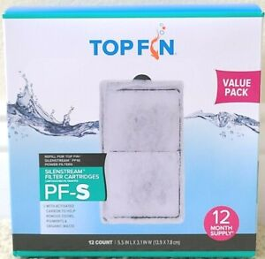 """TOP FIN PF-S SILENSTREAM FILTER CARTRIDGES ~ 12 Count/Box ~ Size 5.5"""" x 3.1"""""""