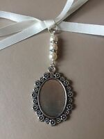 Bridal Bouquet Floral Oval Photo Frame Memory Charm Wedding Swarovski Beads