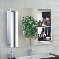 HOMCOM Mirror Cabinet Chest Shelves Sliding Wall Mounted Mirror Storage Bathroom