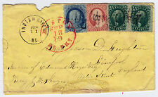 #20, #26, #35 pair on cover, 24 Cent Rate, Indian River ME to Great Britain 1861