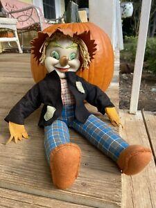 Vintage Rushton Rubber Face Plush Scarecrow Rare Hard To Find Fall Halloween