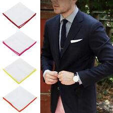 Men Pocket Square Handkerchief Cotton -Solid WHITE Color Edge Handkerchiefs