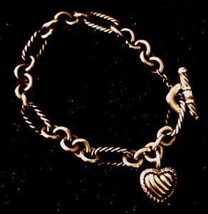 "DAVID YURMAN-Sterling Silver Chain Link-Diamond Trim Heart-Toggle Fasten-7"""