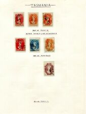 1864 Tasmanian Chalon series stamps on old page