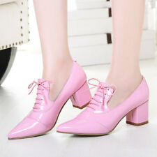 Womens Pointed Toe Lace up Patent Leather Block Mid Heels Low Top Casual Shoes