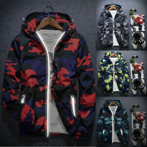 Men's Camouflage Hoodie Hooded Sweatshirt Wind Coat Jacket Outwear Sweater