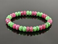Natural Multicolor Ruby Zoisite Diamond Cut Stone Bead Stretch Bracelet