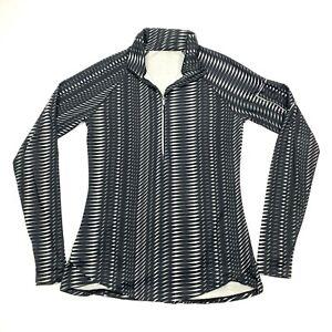 Under Armour Women's Long Sleeve 1/4 Zip Black w/ Geometric Design Sz L