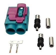 Conector enchufe FAKRA doble hembra verde para cable RG174