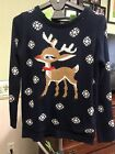 Preowned Women's Ugly Reindeer Christmas Sweater Size M medium