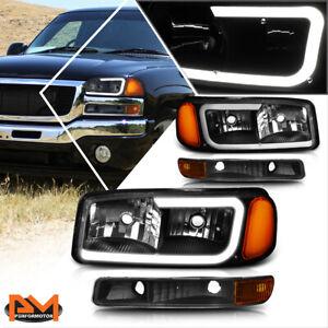 For 99-07 GMC Sierra/Yukon XL LED DRL Headlight w/ Bumper Lamp Black/Amber 4Pcs