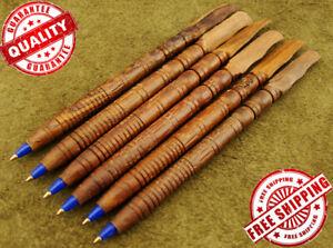 Set of 6 Beautiful Custom Handcrafted Wooden Ballpoint Pens New (008