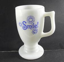 "Vintage milk glass pedestal mug Smile! White blue lettering flowers 5.5"" tall"