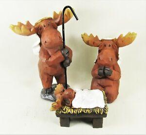 Moose 3pc Nativity Set Christmas Holiday Decor