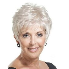 Fluffy Wavy Silvery White Fashion Short Synthetic Wig For Elder Women Hair