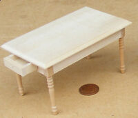 1:12 Scale Natural Finish Wooden Kitchen Table Dolls House Opening Drawers 121